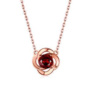 Red Garnet Flower Pendant Necklace Sterling Silver